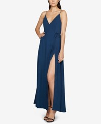 Fame And Partners Georgette Wrap Gown Dark Teal