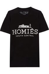 Brian Lichtenberg Homies South Central Glitter Printed Cotton T Shirt Black