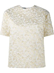 Rochas Embroidered Short Sleeve Top Metallic
