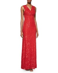 Rachel Gilbert Talena Sequined Surplice Gown Crimson