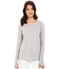 Michael Stars French Terry Long Sleeve Hi Low With Thumbholes Oyster Women's T Shirt Beige