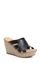 Born Women's Born 'Ilara' Slip On Wedge Black Leather