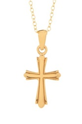 Argentovivo 18K Gold Plated Sterling Silver Cross Pendant Necklace Metallic
