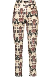 Isabel Marant Mayeul Printed Cotton Blend Corduroy Skinny Pants Cream