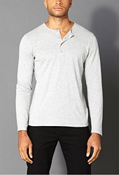 Forever 21 Classic Henley Heather Grey