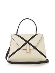 Valextra Iside Mini X Line Grained Leather Cross Body Bag White Black