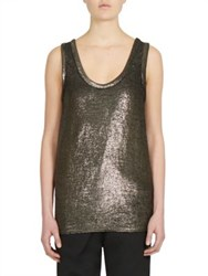 Ann Demeulemeester Sleeveless Linen Blend Top Gold