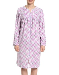 Lissome Short Diamond Fleece Zip Robe Lilac