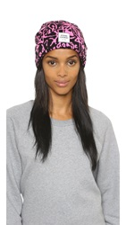 Opening Ceremony Spike Scribbles Knit Beanie Flamingo Pink Multi