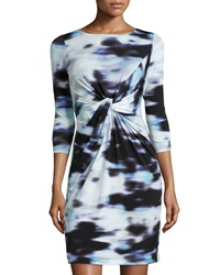 Muse Twisted Front Knit Dress Blue Multi