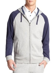 Saks Fifth Avenue Colorblock Zip Hoodie Grey Navy