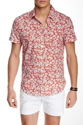 Parke And Ronen Biscayne Short Sleeve Slim Fit Shirt Red