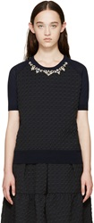 Erdem Blue Beaded Houndstooth Henna Top