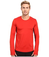 Brooks Steady Long Sleeve Top Lava Root Men's Long Sleeve Pullover Red
