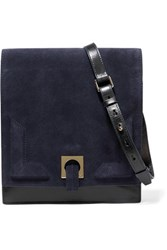 Halston Heritage Suede And Leather Shoulder Bag Midnight Blue