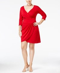 Love Squared Trendy Plus Size Faux Wrap Dress Red