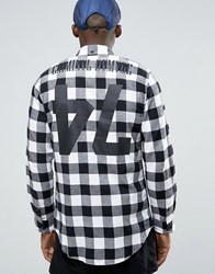 Criminal Damage Longline Check Shirt With Back Print White