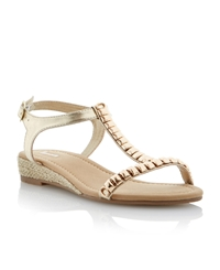 Linea Gooseberry Metal Trim Detail Wedge Sandals Gold