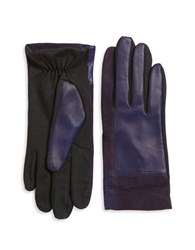 Lord And Taylor Mixed Media Tech Gloves Blue