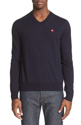 Men's Comme Des Garcons 'Play' V Neck Cotton Pullover Navy