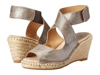 Johnston And Murphy Ainsley Wishbone Pewter Metallic Suede Women's Wedge Shoes