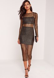 Missguided Long Sleeve Fishnet Midi Dress Gold