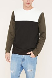 Forever 21 Zippered Colorblock Sweatshirt White Olive