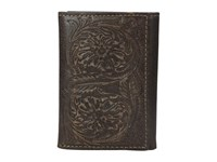 Ariat Floral Embossed Tri Fold Wallet Brown Wallet Handbags