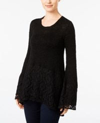 Styleandco. Style Co. Metallic Lace Hem Sweater Only At Macy's Deep Black