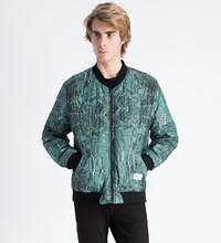 Green Black Marble Reversible Marbleous Bomber Jacket