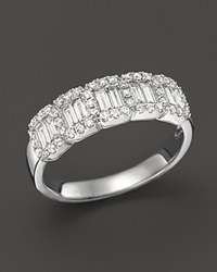 Bloomingdale's Diamond And Baguette Cluster Band Ring In 14K White Gold .75 Ct. T.W.