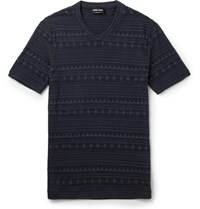 Giorgio Armani Slim Fit V Neck Jacquard T Shirt Navy