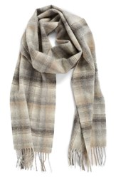 Nordstrom Women's Heritage Plaid Cashmere Scarf Neutral Light Combo