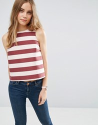 Asos Structured Stripe Shell Top Wine Nude Multi