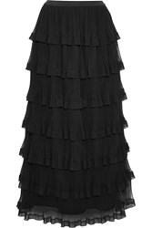 Red Valentino Redvalentino Tiered Georgette And Plisse Tulle Maxi Skirt Black