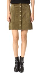 Current Elliott The Suede Naval Skirt Green