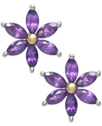 Macy's Amethyst 2 3 8 Ct. T.W. Flower Stud Earrings In Sterling Silver And 14K Gold Plated Sterling Silver