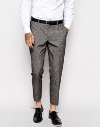 Asos Slim Fit Smart Cropped Trousers Grey