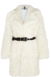 Topshop Unique Morrell Leather Trimmed Shearling Coat Off White