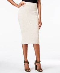 Rachel Roy Ribbed Pull On Pencil Skirt Canvas