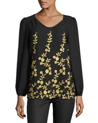 5Twelve Floral Embroidered Chiffon Top Black Gold