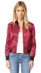 3X1 Wj Satin Collection Bomber Jacket Garnet Red