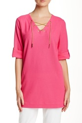 Joan Vass Chainlink Lace Up Tunic Petite Pink