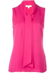 Michael Michael Kors Sleeveless Pussy Bow Top Pink And Purple