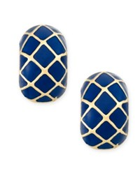Charter Club Gold Tone Blue Harlequin Huggy Earrings Only At Macy's