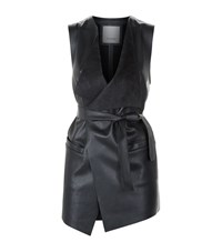 Pinko Faux Leather Gilet Female Black