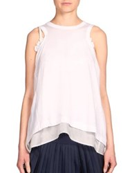 Sacai Lace Detail Tank Top Off White