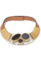Marni Leather Acrylic And Horn Necklace Tan