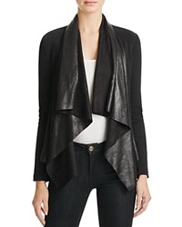 Splendid Drape Rib Faux Suede Jacket Black