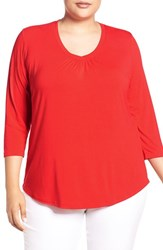 Sejour Plus Size Women's Three Quarter Sleeve Tee Red Bloom